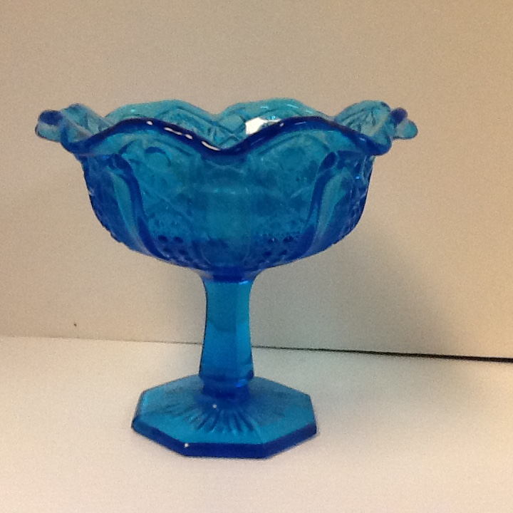 Colonial azure blue imperial design 6 1 4 in h x 7 in w compote
