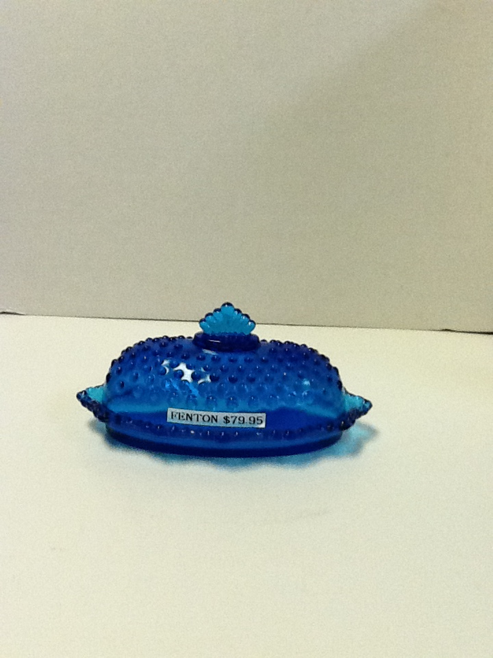 Fenton colonial azure blue hobnail covered oval butter dish cb20 18