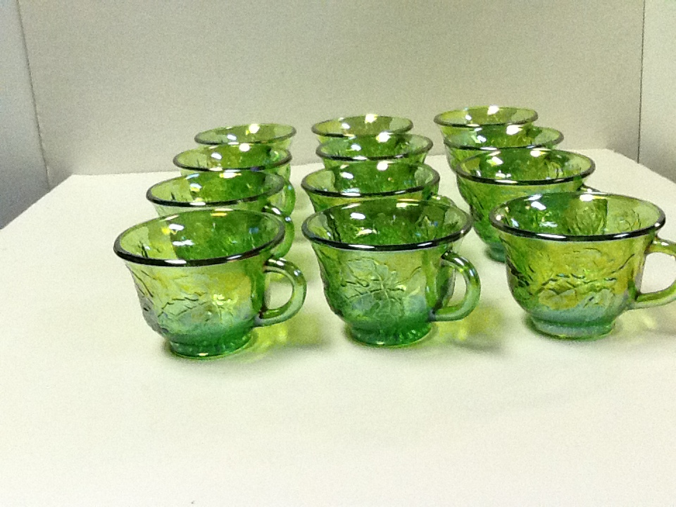 Pat s creations amp collectibles blue gold lime green carnival glass