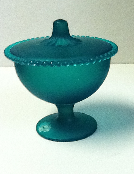 Teal green flashed covered compote with beaded edge lid tg6 6